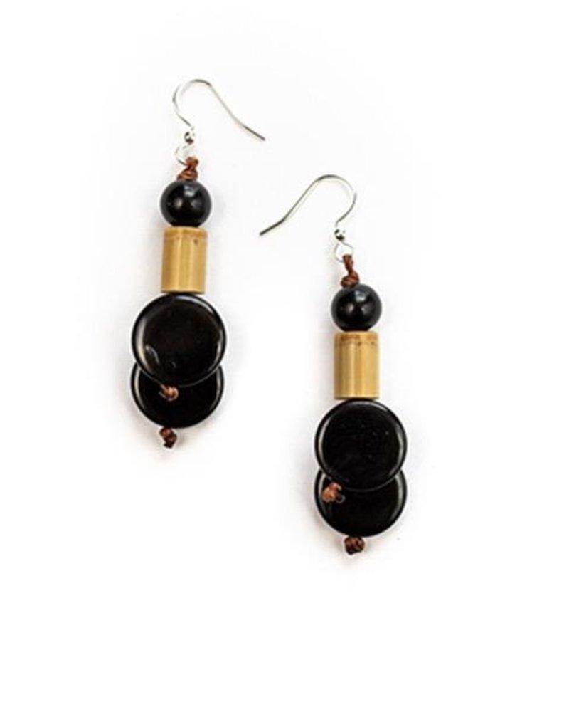 Tagua Bambu Earrings In Black