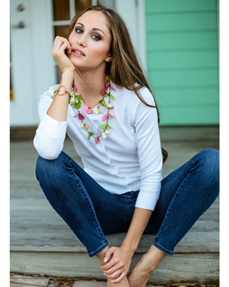 Tagua Slice Necklace In Lime