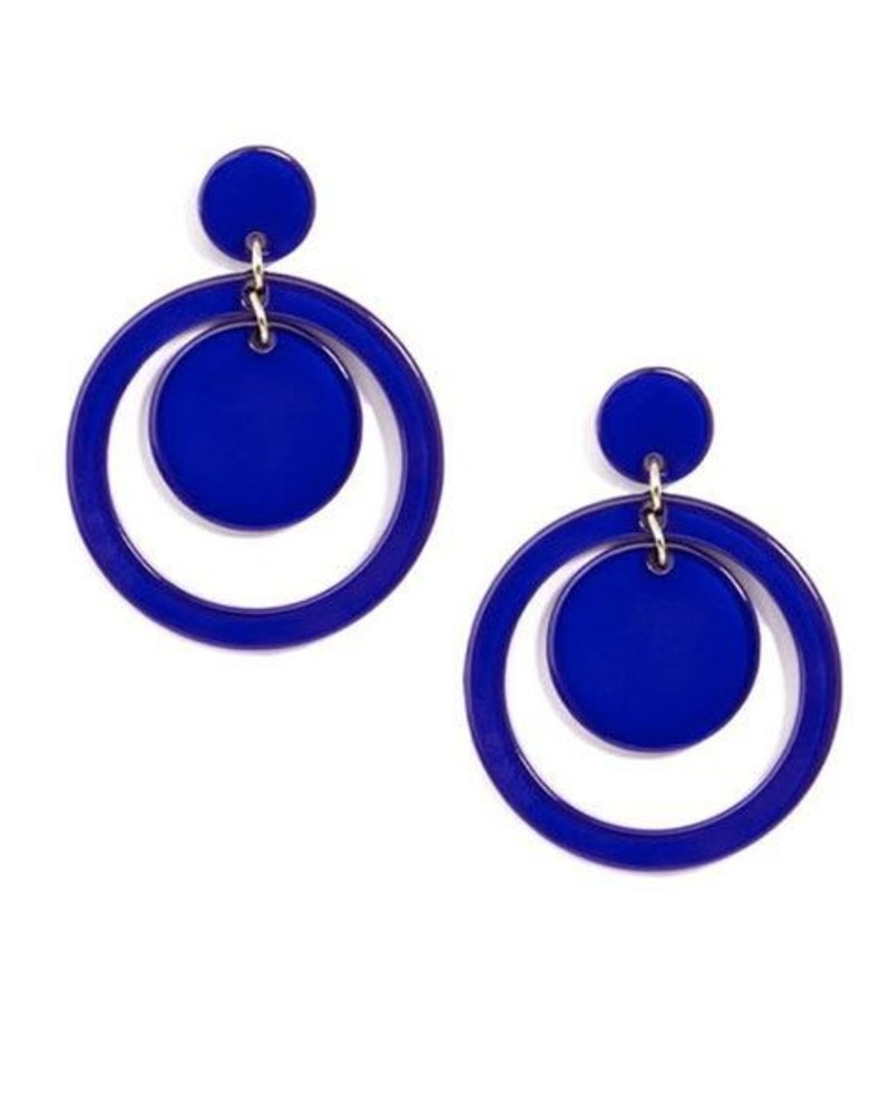 Door-Knocker Resin Earrings In Cobalt