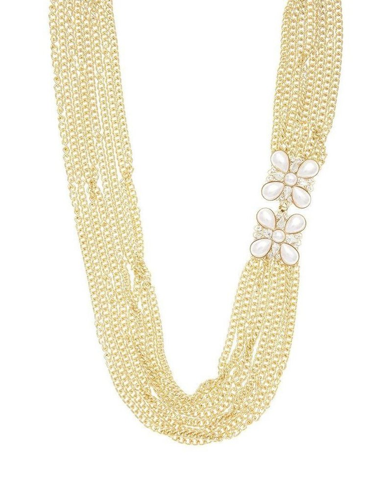 Long Multi Chain & Flower Necklace