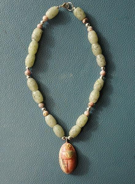 Martha Bennett Rhodechrosite & Jade Scarab Necklace