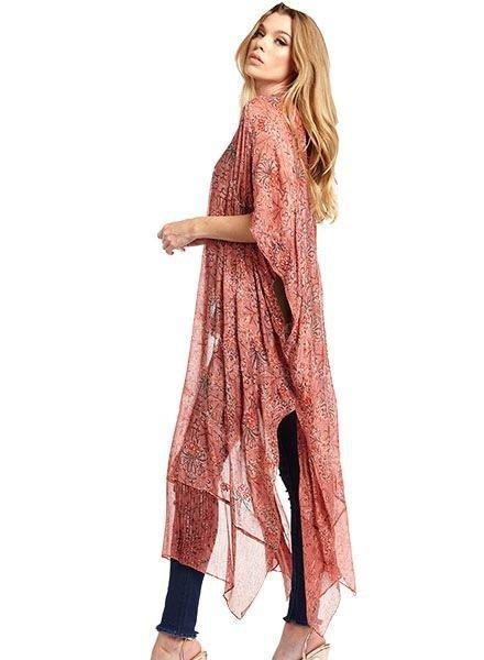 Aratta Aratta's Only For Daisy Hand Beaded Kimono In Vintage Mauve