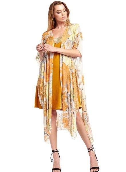 Aratta Aratta's Only For Daisy Hand Beaded Kimono In Pearl Floral