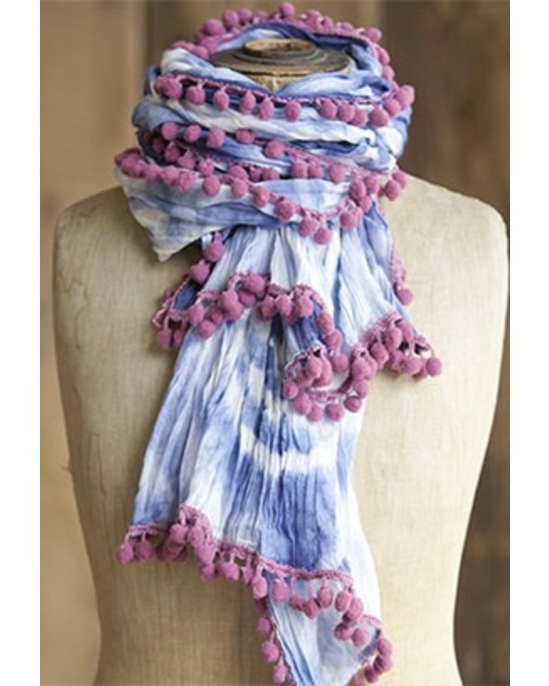 The Pom Pom Tye-Dye Scarf In Blue & White