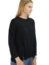 Comfy Short Tunic Top In Black Crinkle