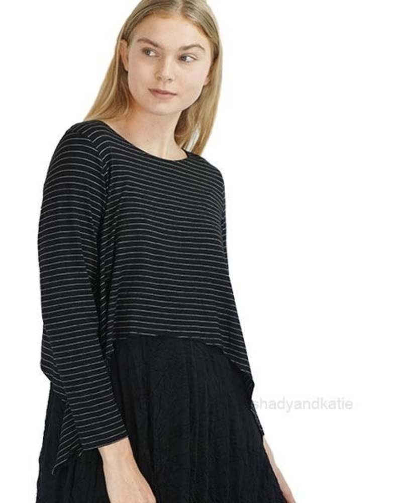 Comfy Remy Topper In Black Pinstripe