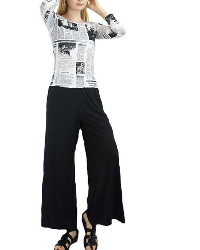 Comfy USA Long Wide Leg Pant In Black