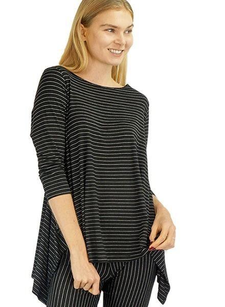 Comfy Vancouver Tunic In Black Pinstripe