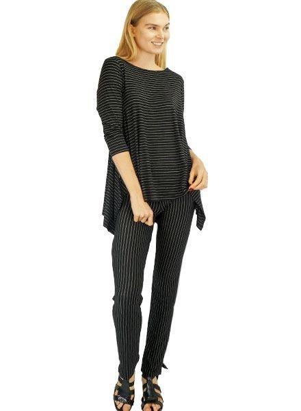 Comfy Narrow Pant In Black Pinstripe