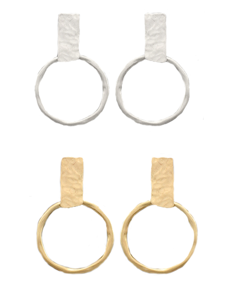 Hammered Rectangle & Ring Earrings