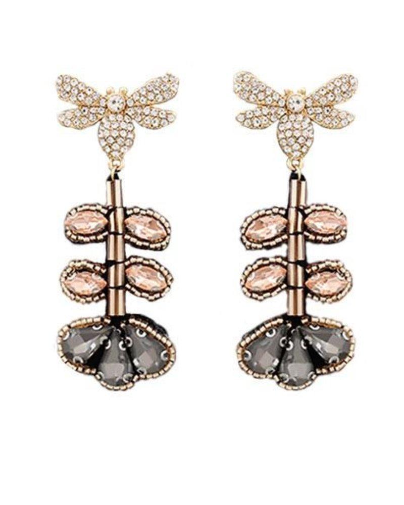 Dragonfly & Flower Earrings