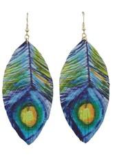 Peacock Faux Leather Leaf Earrings