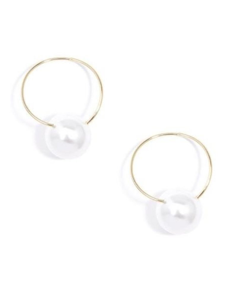Contemporary Hoop & Pearl Drop Earring