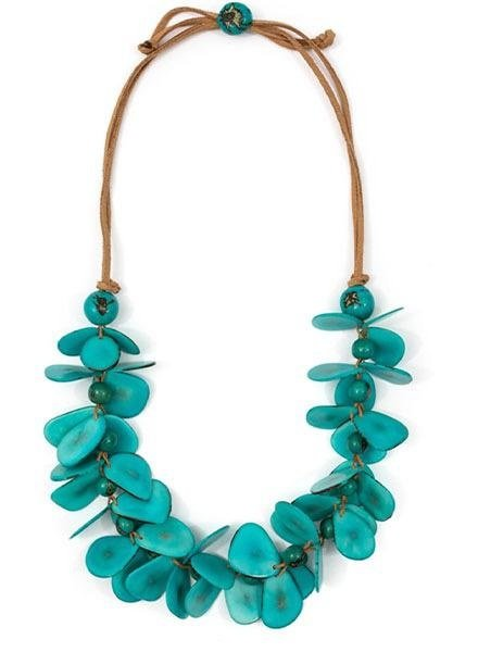 Tagua Mariposa Necklace In Turquoise