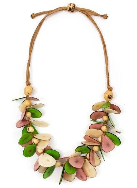 Tagua Mariposa Necklace Lime, Ivory & Pink