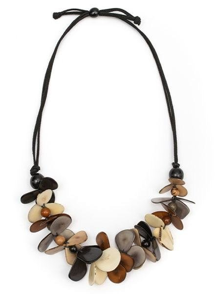 Tagua Mariposa Necklace In Black Combo