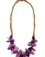 Tagua Mariposa Necklace In Purple & Violet