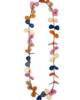 Tagua Slice Necklace In Orange, Violet & Royal Blue