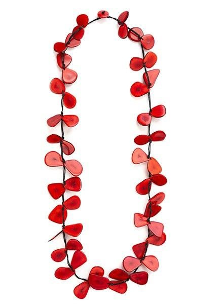 Tagua Slice Necklace In Red