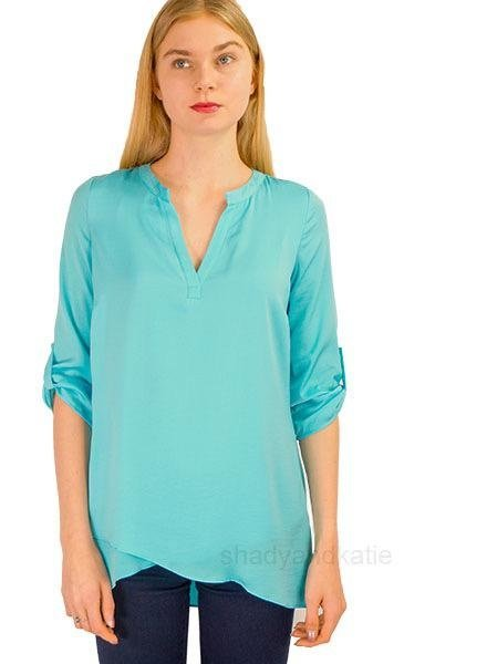 Renuar Renar's Soft As Silk Blouse In Azure