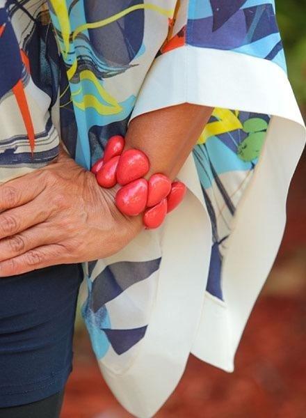 Tagua Raindrop Bracelet In Poppy Coral