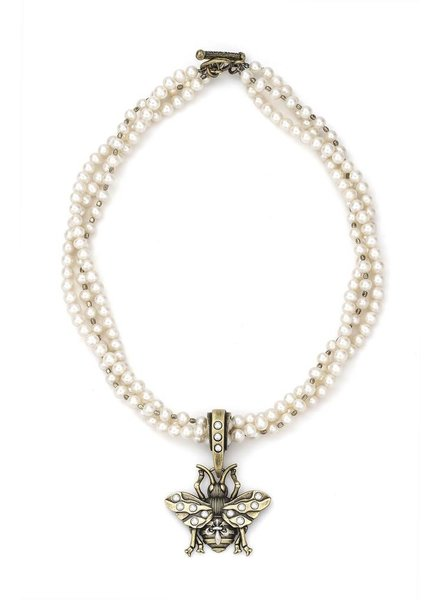 French Kande French Kande 17' Triple Pearls & Bee Necklace