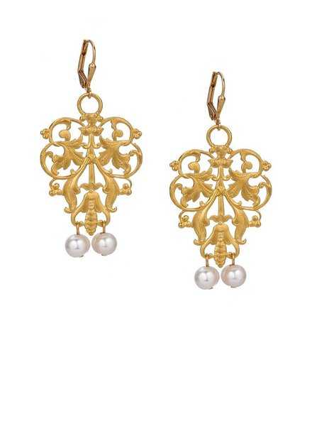 French Kande French Kande Gold French Filigree Earrings With Pearls