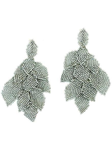 KVZ Designs KVZ Design Handbeaded Leaf Earrings In Silver