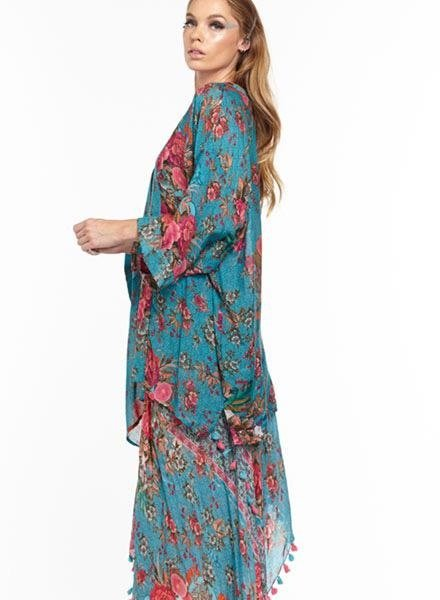 Aratta Aratta's Phillipa Kimono In Teal Flowers
