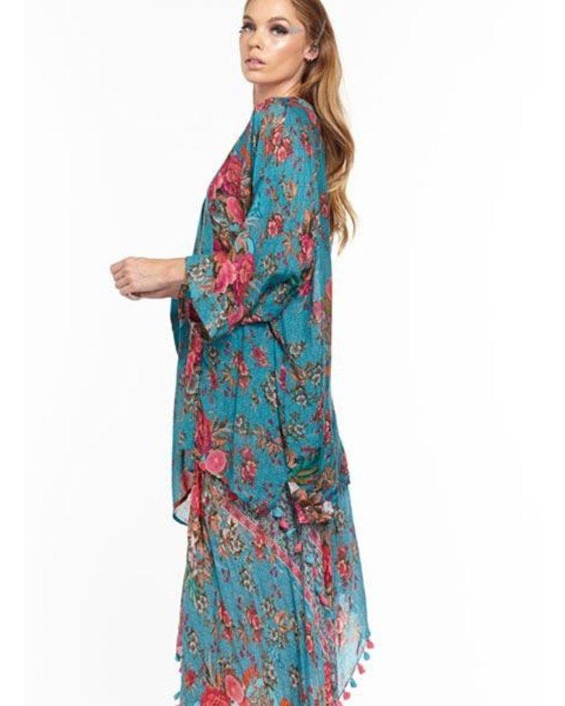 Aratta Aratta's Phillipa Kimono In Teal Flowers