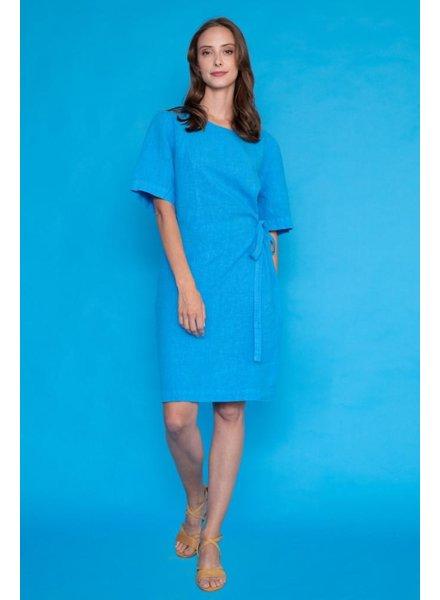 Haris Cotton Haris Cotton Linen Dress In Turquoise