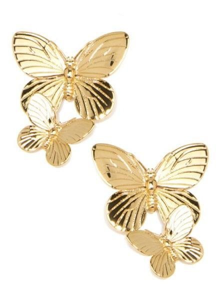 Gold Stacked Butterfly Earrings