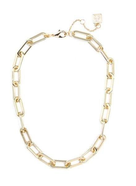 Zenzii Oblong Link Necklace In Gold