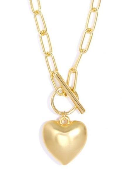 Zenzii Matte Chain & Heart Necklace