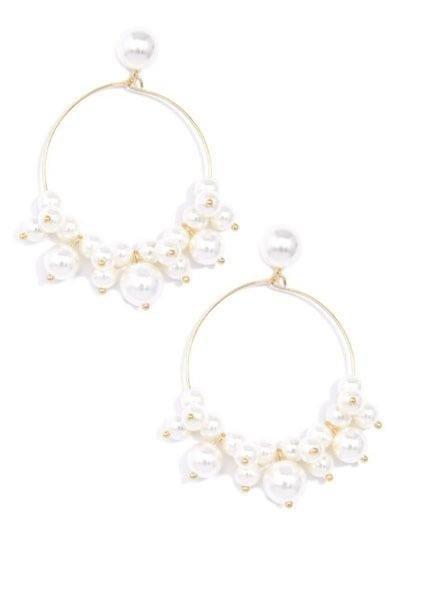 Zenzii Pearl Embellished Hoop Earrings
