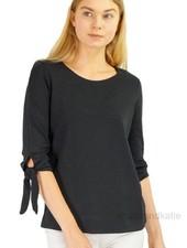 Renuar Renuar's Tie Sleeve Top In Black