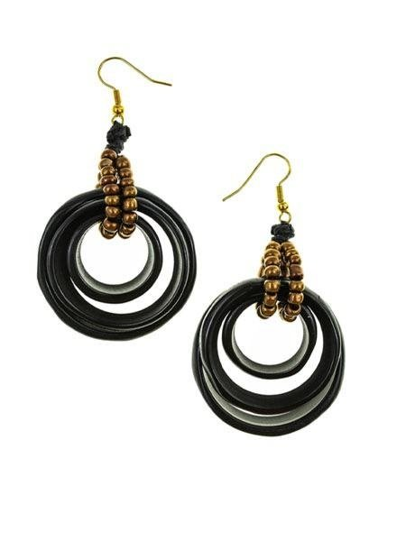 Organic Tagua Tagua Sarah Earrings In Black