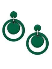 Door-Knocker Resin Earrings In Dark Green