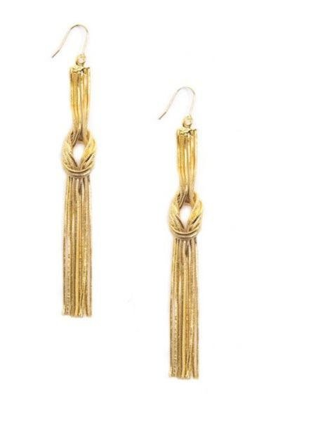 Knotted Metal Tassel Earrings In Gold