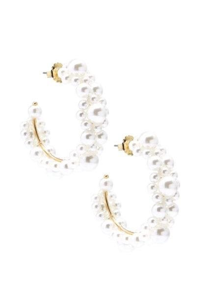 Beaded Pearl Cluster Hoop Earrings