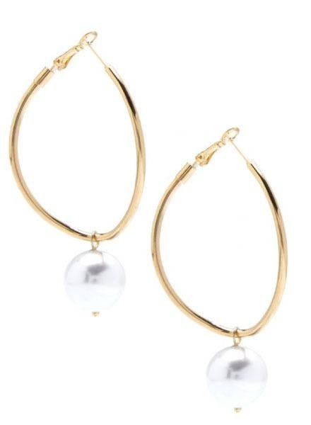 Pearl Charm Hoop Earrings In Gold
