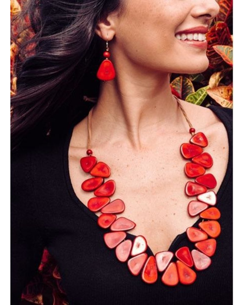 Organic Tagua Tagua Samantha Necklace In Chestnut & Cafe