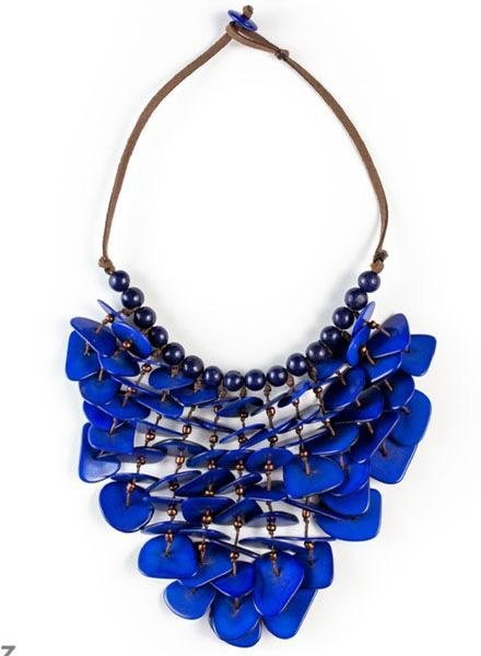 Tagua Lluvia Necklace In Royal Blue