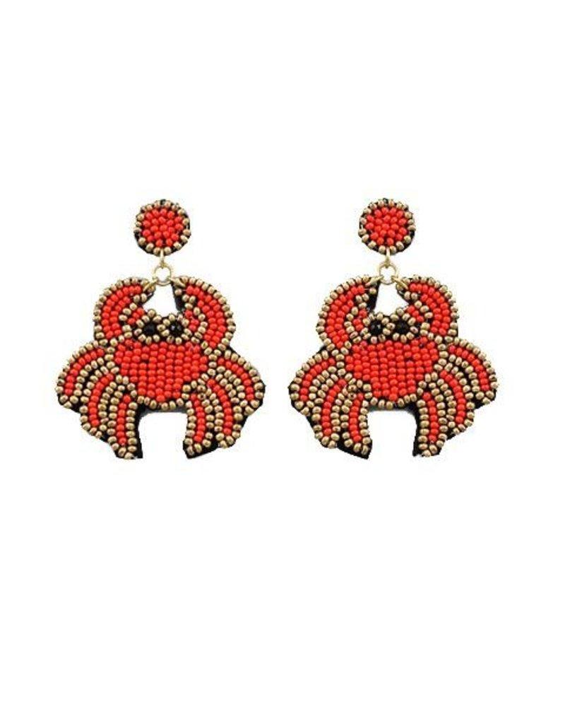 Red Seed Bead Crab Earrings
