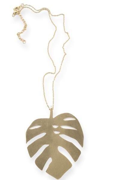 Ink + Alloy Monstera Leaf Brass Necklace