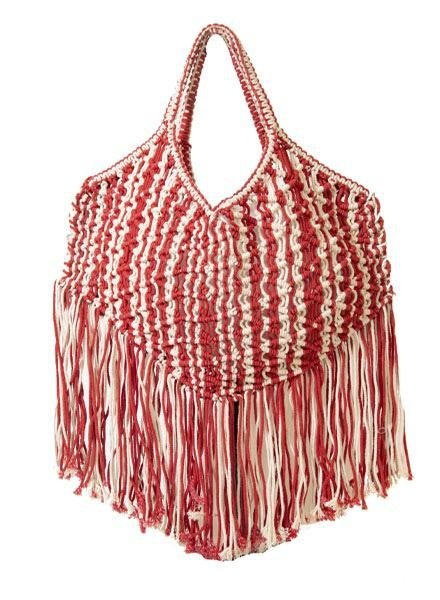Area Stars Area Stars Macrame Tote In Red & Natural