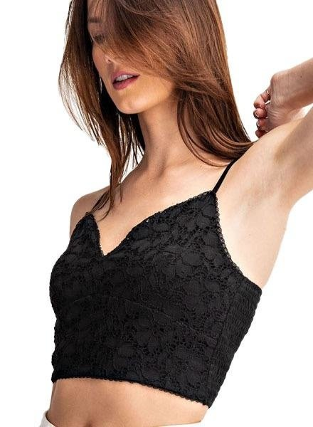 Lace Smocking Cami/Bra In Black