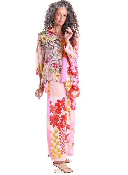 Alembika Alembika Wide Leg Pink Print Pant