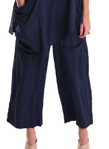 Alembika Alembika Cropped Pocket Pant In Navy