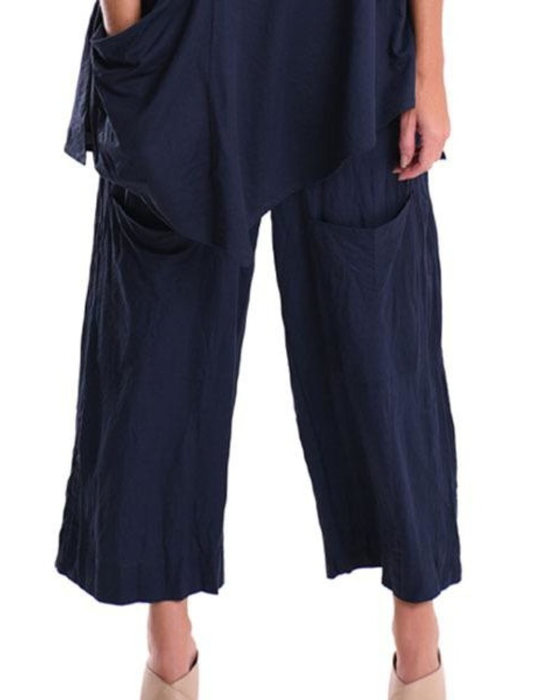 Alembika Alembika Cropped Pocket Pant In Navy